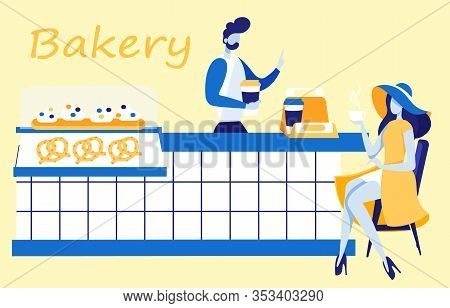 Elegant Woman In Dress And Hat Drinking Coffee And Sitting At Counter Flat Cartoon Banner Vector Ill