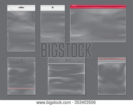 Plastic Zipper Bag Realistic Mockup Isolated Set. Plastic Bags With Zipper, Sticky Flaps And Holes,