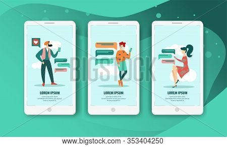Set Bright Banner Relationship In Smartphone. Relationships Are Built On Trust And Sympathy. On Scre
