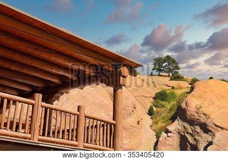 A Traditonal Adobe Building Near Red Rocks In Colorado