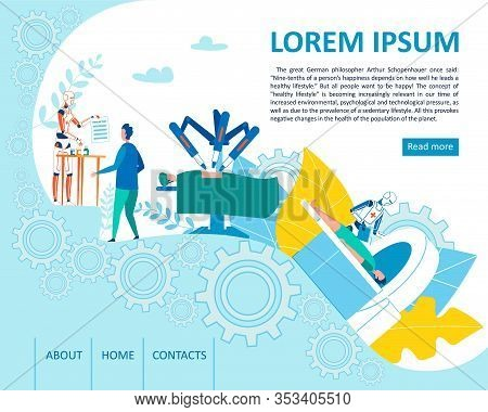 Landing Page Offer Robotic Assisted Smart Medicine. Cartoon Artificial Intelligence, Automated Surge