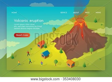 Flat Banner Is Written Volcanik Eruption Isometric. People Flee Their Homes To Escape Volcanic Erupt