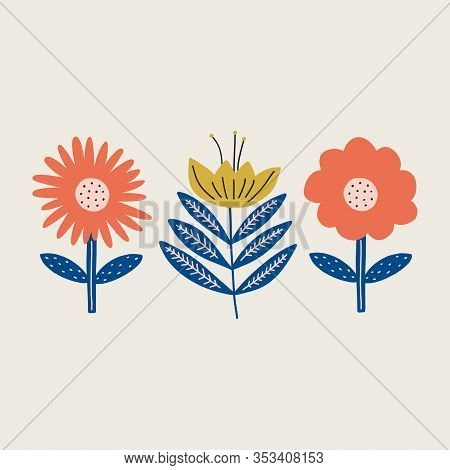 Modern Folk Boho Single Isolated Flowers In Scandinavian Style. Floral Slovak Plant Cutout Collage D