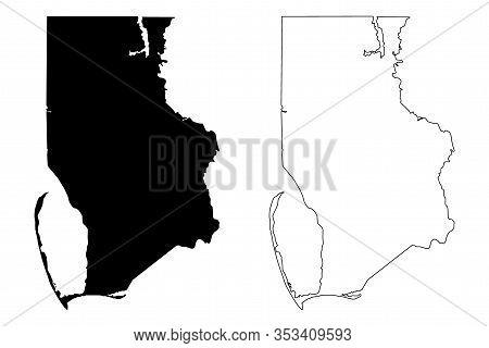 Gulf County, Florida (u.s. County, United States Of America,usa, U.s., Us) Map Vector Illustration,