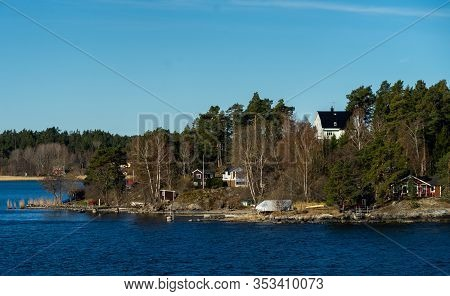 Picturesque Summer Houses Painted In Traditional Falun Red On Dwellings Island Of The Stockholm Arch
