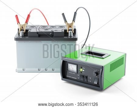 Car Battery Charging. Accumaltor And Divece Isolated On White Background 3d