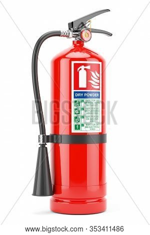 Red Fire Extinguisher With Instructions Label Isolated White Background 3d