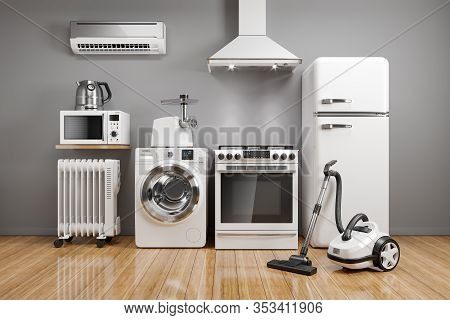 Set Of Home Kitchen Appliances In The Room On The Wall Background. 3d Render