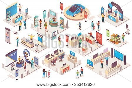 Expo Center And Trade Show Exhibition Product Display Stands, Isometric Icons. Promo Trade Expositio