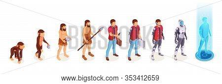 Human Evolution Of Man From Ape Monkey To Digital World Technology, Life Development Process Icons.