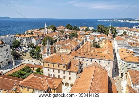 Old Town Zadar From Bell Tower Of Cathedral Of St. Anastasia, Croatia, Croatia. Travel Destination.