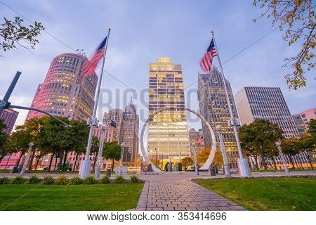 View Of Downtown Detroit Riverfront