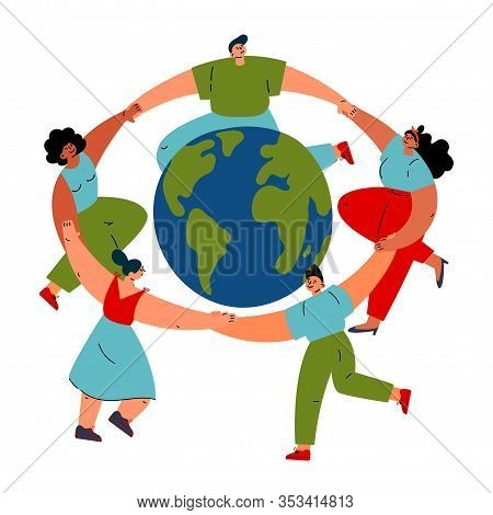 Group Of Different Young Women And Man Dancing Around The Earth Globe, Holding Hands.happy Esrth Day