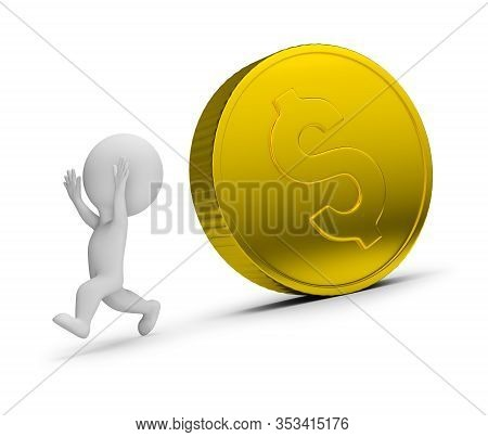 3d Small Person Runs Away From The Rolling Golden Coin. 3d Image. White Background.
