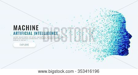 Difital Face Artificial Intelligence Concept Background Design Illustration