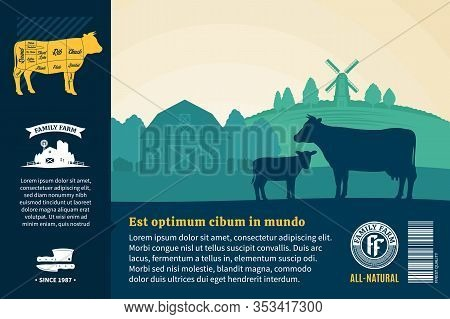 Vector Farm Fresh Beef Illustration. Rural Landscape With Cows, Calves And Farm. Butcher Shop Or Cat