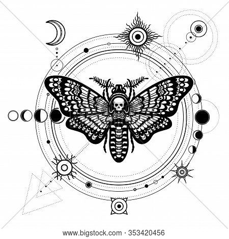 Mystical Drawing: Moth Dead Head, Moon Phases, Orbits Of Planets, Energy Circle. Sacred Geometry. Al