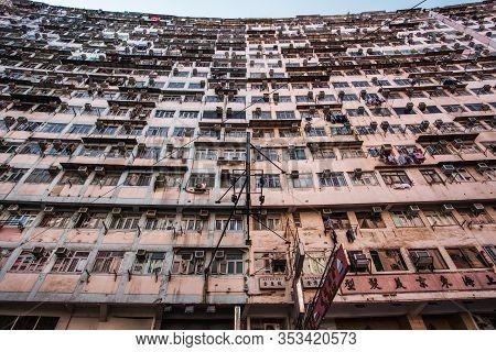 Hong Kong, Hong Kong - December 12, 2016: Low Class And Poor Apartment Is Common Living In Hong Kong