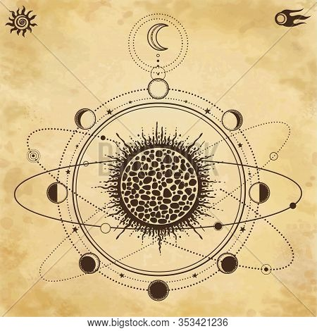 Mystical Drawing: Stylized Solar System, Orbits Of Planets, Phases Of The Moon. Sacred Geometry. Bac