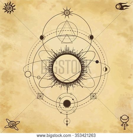 Mystical Drawing: Stylized Solar System, Stars, Orbits Of Planets, Energy Circle. Sacred Geometry. B