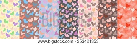 Set Of Pastel Colored Seamless Patterns With Hearts. Vector Design For T-shirt, Summer Dress, Bedclo