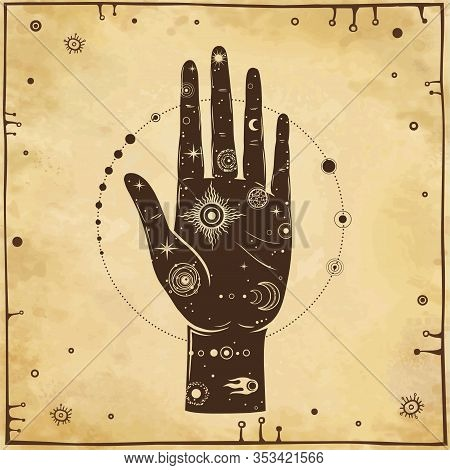 Mystical Drawing: In The Human Hand Is The Universe: Stars, Comet, Cosmic Symbols.alchemy, Esoterics