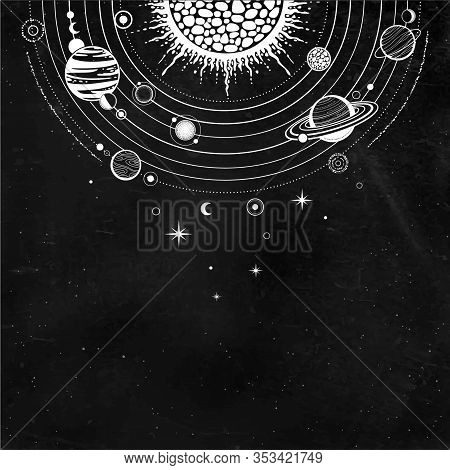 Cosmic Drawing: Stylized Solar System, Orbits, Planets, Space Structure. Place For The Text.  Backgr