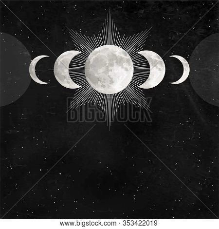 Mystical Drawing: Triple Moon Pagan Wicca  Symbol, Full Moon, Phases Of The Moon. Alchemy, Magic, Es
