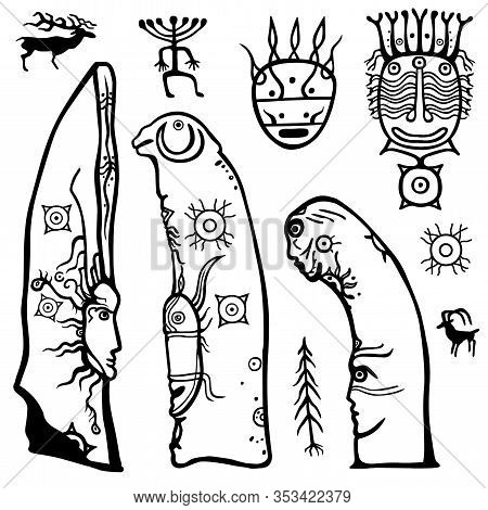 Animation Image Of Ancient Pagan Deity. Stone Steles. Drawing On A Stone A Menhir. Set Of Petroglyph