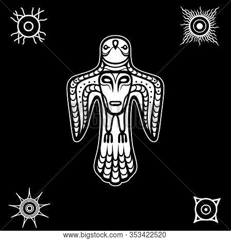 Animation Image Of Ancient Pagan Deity. Bird Y With A Human Face On A Breast. God, Idol, Totem. Sola