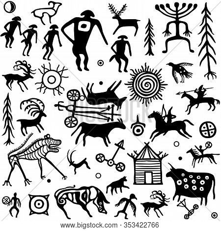 Seamless Pattern. Animation Image Of Ancient Rock Paintings. Drawing On A Stone. Set Of Petroglyphs,