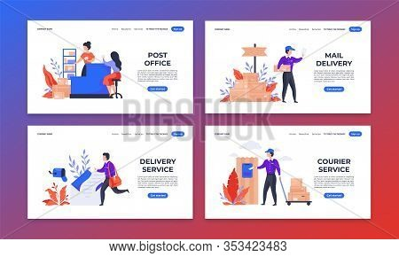 Delivery Landing Page. Shipping And Mail Service Web Pages, Cartoon Characters Delivering Parcels To