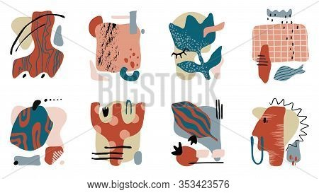 Contemporary Collage. Trendy Hand Drawn Abstract Set With Grunge Textures And Organic Shapes. Vector