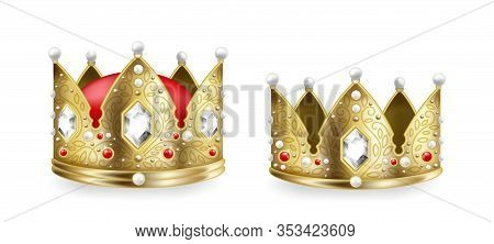 Realistic King And Queen Crowns. 3d Golden Royal Monarch Headdress With Gems Collection, Heraldic An