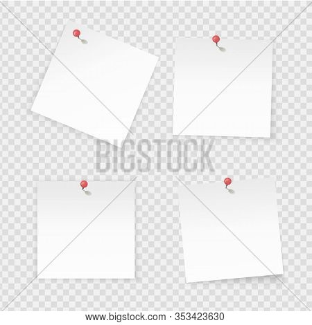 Sticky Notes. Paper Stick Notes Isolated On Transparent Background. Empty Notebook Page Pinned Red P