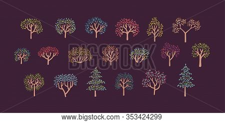 Set Of Colorfull Autumn Trees In Simple Pointillism Style - Part 01. Vector Illustration On Violet B