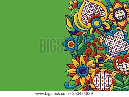 Background With Mexican Talavera Pattern. Decoration With Ornamental Flowers. Traditional Tile Decor