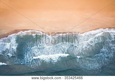 Sand Beach Aerial, Top View Of A Beautiful Sandy Beach Aerial Shot With The Blue Waves.