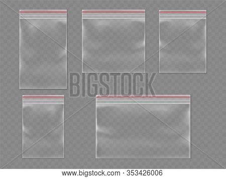 Sealed Polythene 3d Bags Or Realistic Plastic Pack With Self Adhesive Flap. Realistic Vector Waterpr