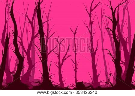 Colorful Vector Illustration Of A Pink Dark And Creepy Forest