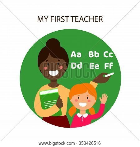 Smiling Pupil And Black Teacher In Classroom. Black Teacher Near Blackboard. Calligraphy Alphabet. F