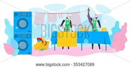 Two Robots And Housework Cleaning Service In Hotel Dry-cleaning Promotion Banner Vector Illustration