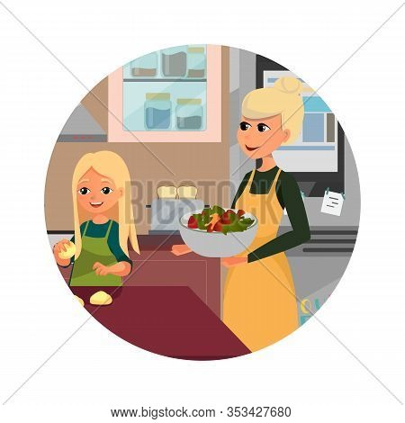 Mother And Daughter Cooking At Home Flat Cartoon Vector Illustration. Girls With Salad Bowl And Doug