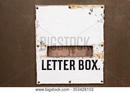 Vintage Enamel Plate Letter Box Rusted Edges Screwed To Wood Board Hessian Sacking Behind The Slot F