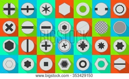 Head Of Fastener Vector Flat Set Icon.isolated Icon Head Fastener Of Bolt. Vector Illustration Metal