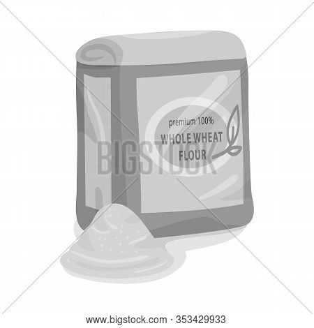 Isolated Object Of Flour And Pack Logo. Collection Of Flour And Bag Stock Symbol For Web.