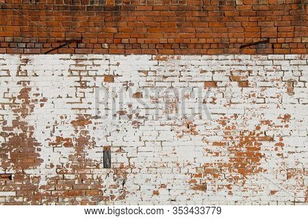 A Vintage Exterior Natural Red And Whitewashed Brick Wall