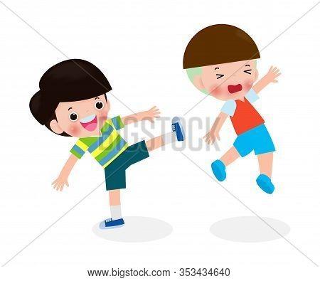 Bad Boy, Children Fighting Each Other Kicking, Kids Bully Friend Bad Behavior, Bullying Children Car