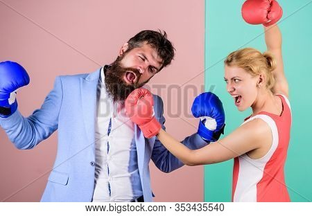 Equal Possibilities. Problems In Relationship. Sport. Strength And Power. Bearded Man Hipster Fighti