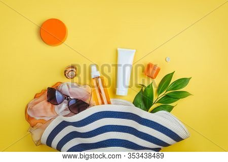 Sunprotection, Sanscreen. Beach Set: Hat, Sun Glasses And Protection Cream Spf Beach Accessories. Su